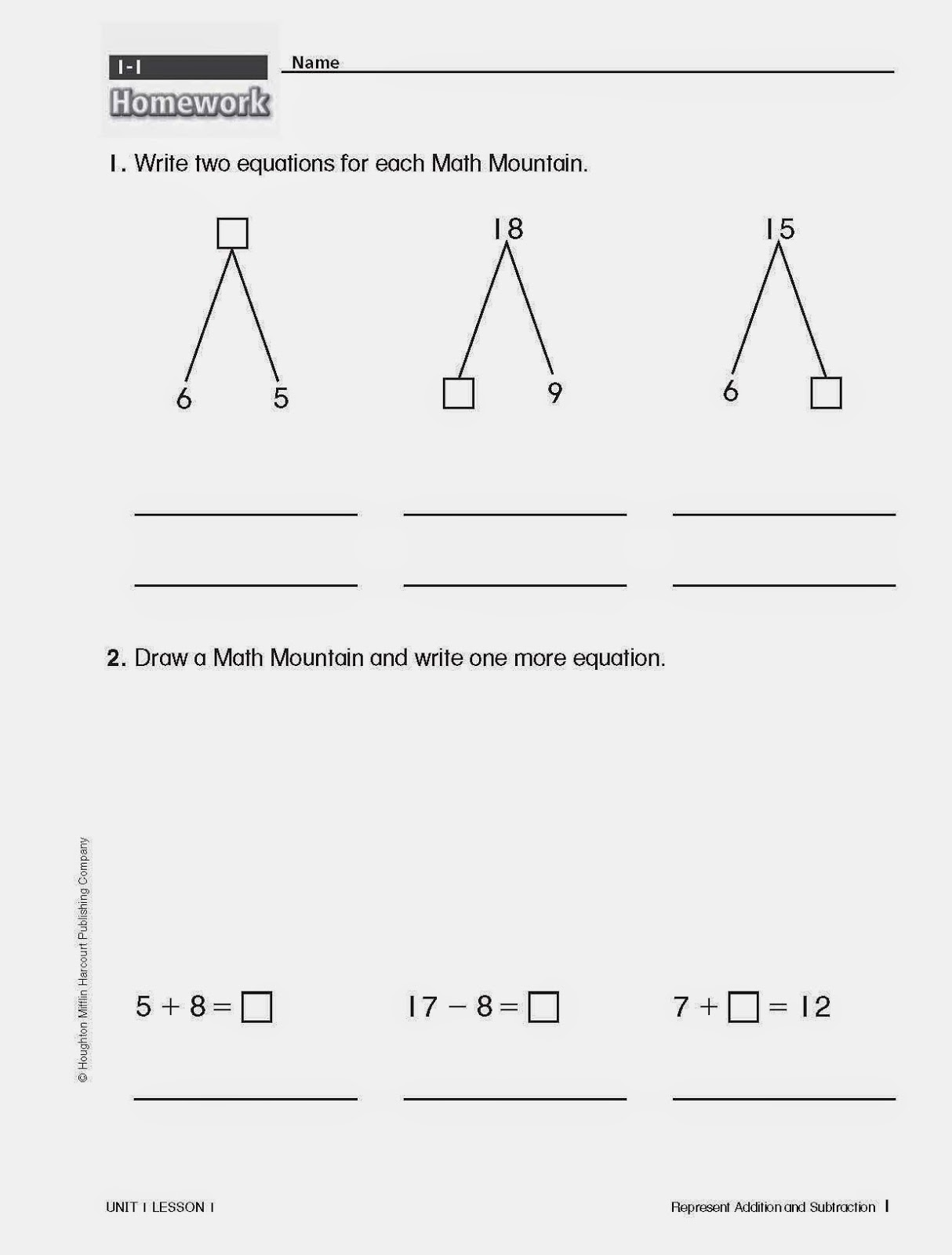 Worksheets Math Mountain Worksheets the fitz family math homework homework