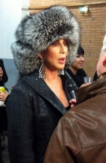 Cher in a (faux?) fur hat