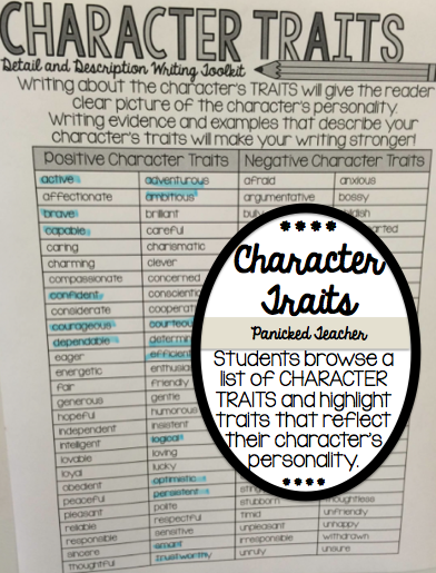 Character Traits, Writing Mini-Lesson, Character Traits Mini-Lesson