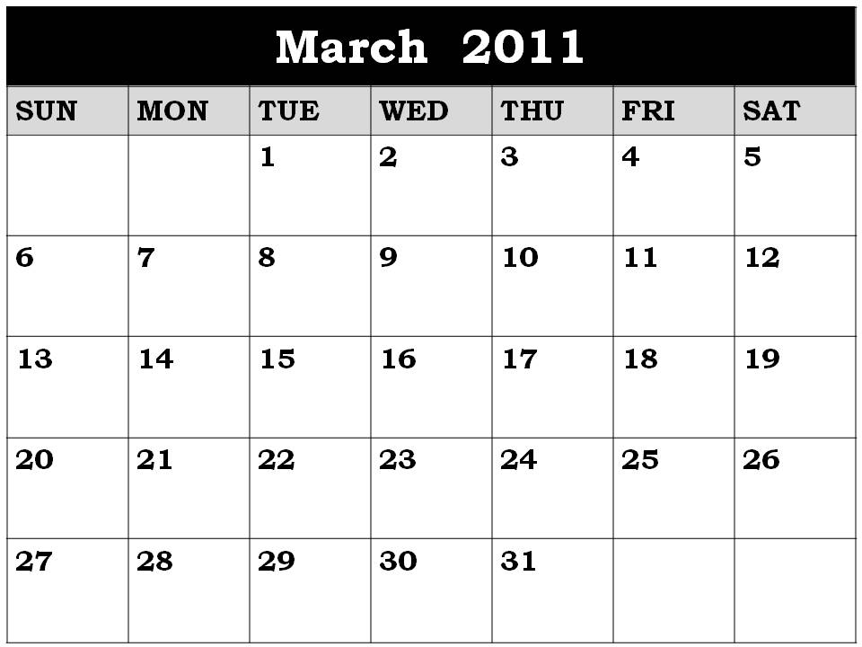 2011 calendar printable monthly. MARCH 2011 CALENDAR PRINTABLE