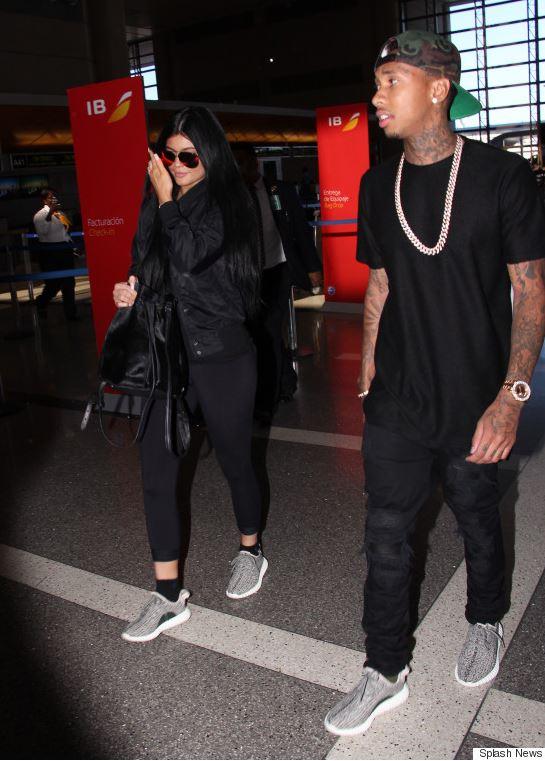 Celeb Basket Game: Kylie Jenner Tyga Wearing adidas Yeezy Boost