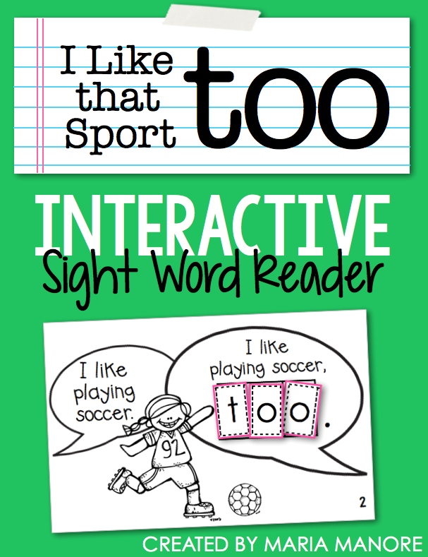 "emergent reader for sight word ""TOO"""
