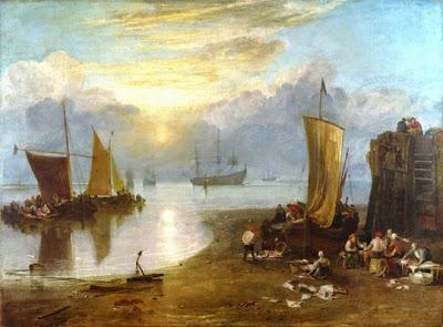Lever de soleil dans la brume, pêcheurs nettoyant et vendant le poisson