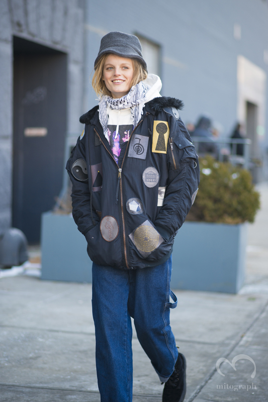 Model Hanne Gaby Odiele leaves Michael Kors 2015-2016 Fall Winter show during New York Fashion Week NYFW