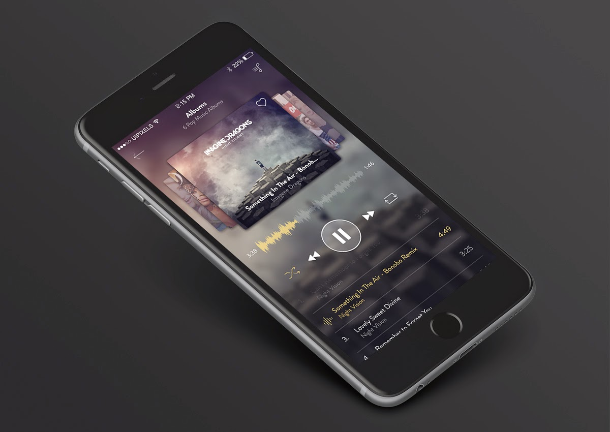 Music App Screens UI PSD