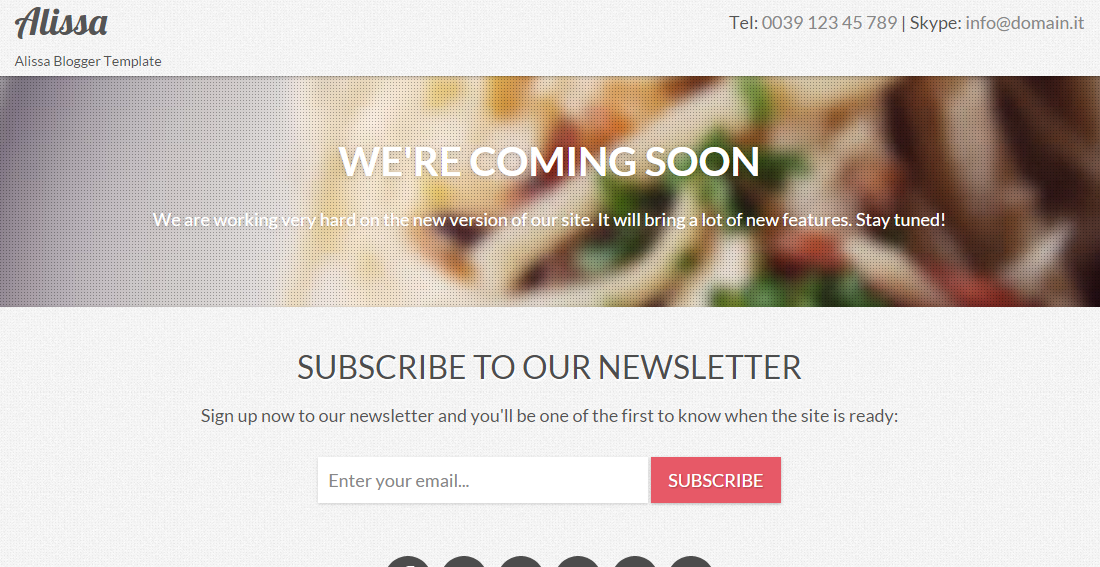Download Alissa Responsive Coming Soon Free Blogger Template
