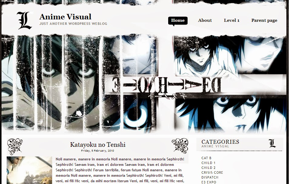 Download Template Blog Anime (Death Note)