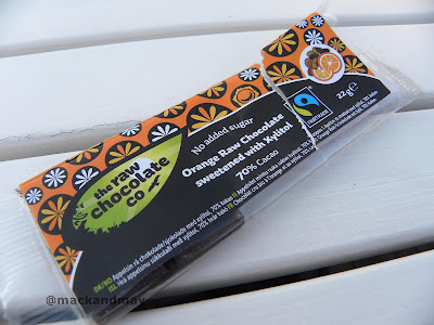 raw chocolate company chocolate bar with orange
