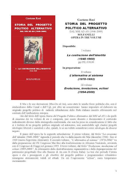 Gaetano Rasi, Storia del progetto politico alternativo (Ed. Solfanelli)