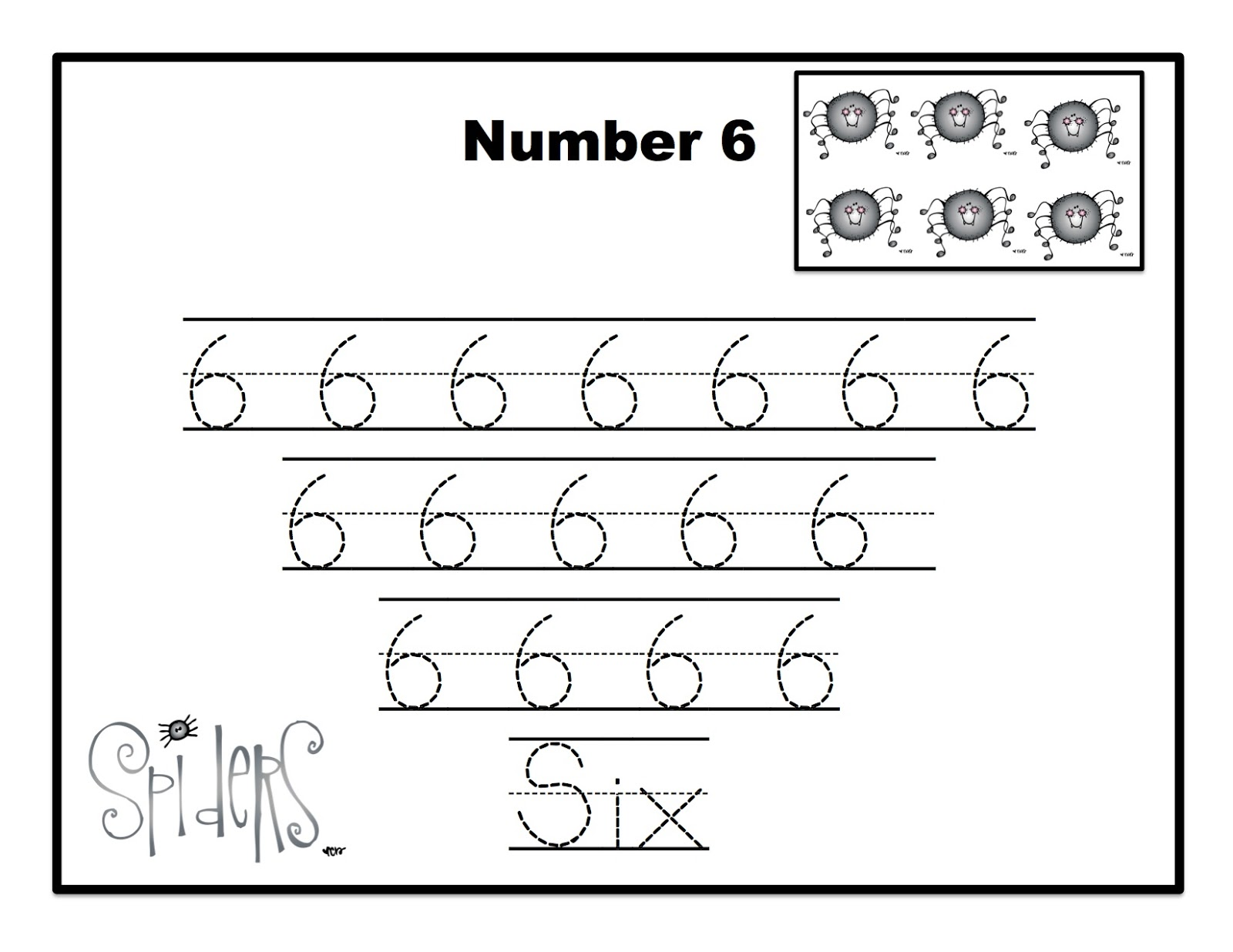 Number 6 Tracing Page Coloring Pages