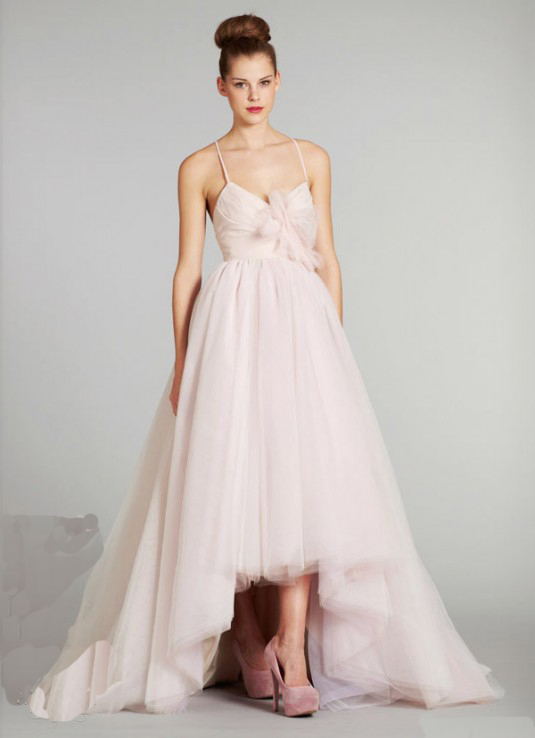 pink spaghetti high-low wedding dress