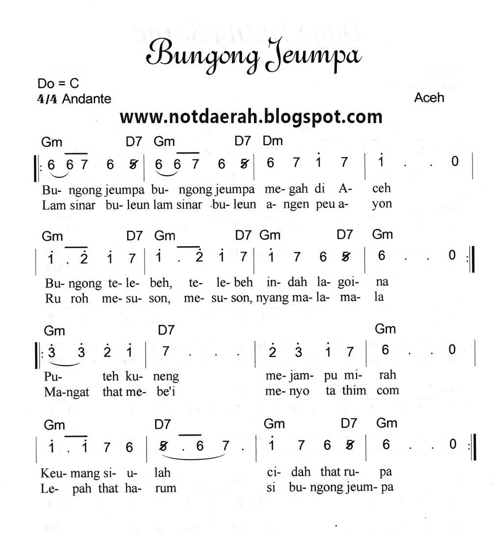 Chord Lirik Ungu Setengah Gila: Chord Bunga Not Angk Lagu Bungong Jeumpa Not Angka Lagu