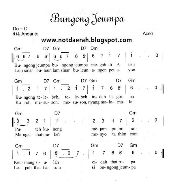Not Angk Lagu Bungong Jeumpa