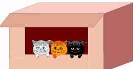 un dibujo de 3 gatos dentro de una caja