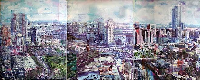 TA skyline from Azrieli Towers (triptych), 2009.