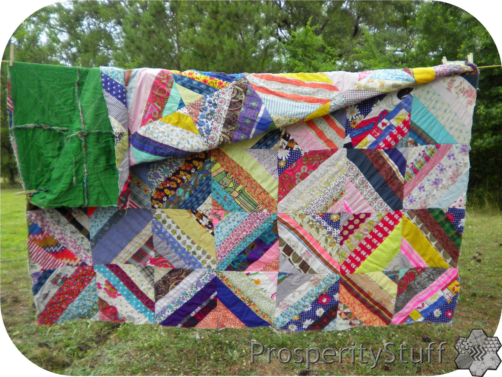 Front and back of foundation-pieced vintage quilt top