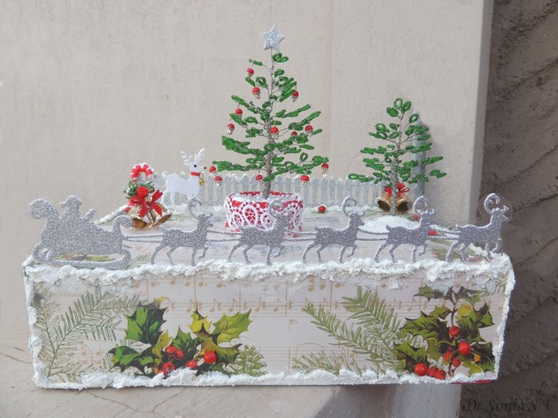 Cards ,Crafts ,Kids Projects: Beaded ChristmasTrees Diorama