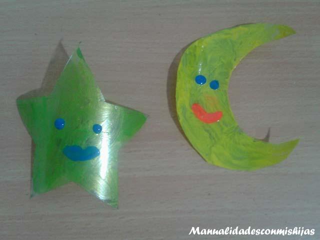 Manualidades infantiles: luna y estrella con Botellas de plástico