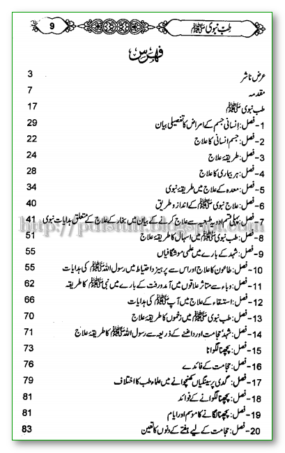 contents of tibb e navi Urdu