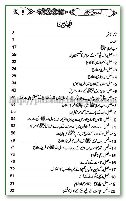 contents of tibb e navi Urdu