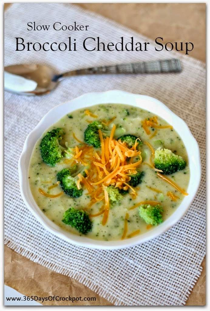 Slow Cooker Light and Gluten-Free Broccoli Cheddar Soup from 365 Days of Slow Cooking found on SlowCookerFromScratch.com