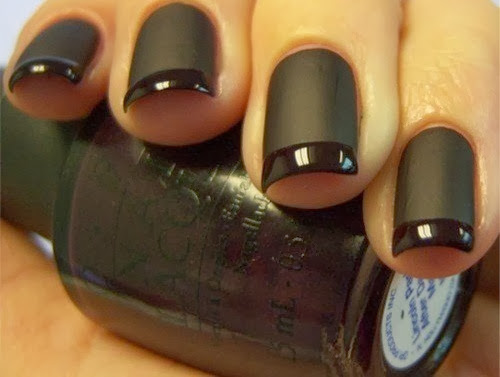 Black nails and black nail polish style for ladies