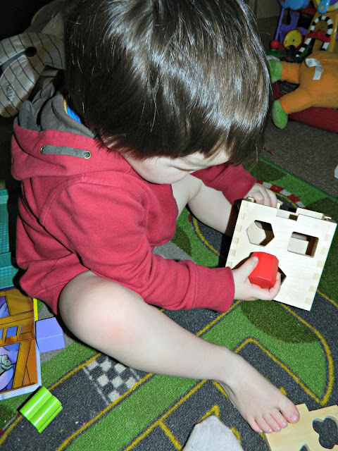 Small Boy Toddler Playing with Wooden Shape Sorter