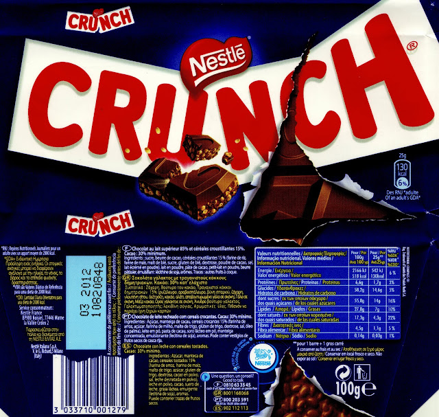 tablette de chocolat lait gourmand nestlé crunch