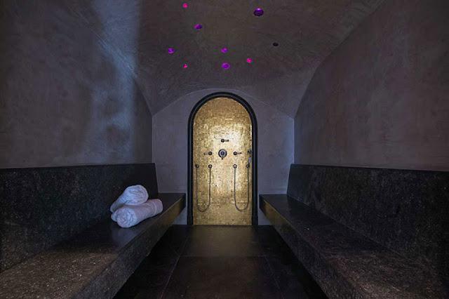 Picture of dark marble furniture in sauna