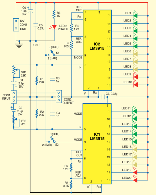 build a low cost stereo level indicator electronic circuits diagram rh streampowers blogspot com Simple Electronic Circuits Electronic Circuit Animation