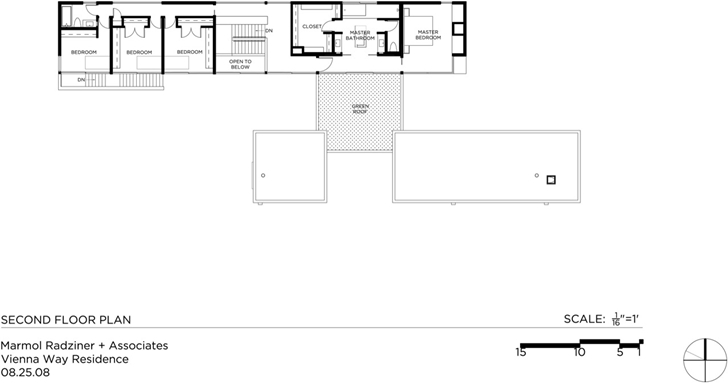 Upper floor plan of Vienna Way Home by Marmol Radziner