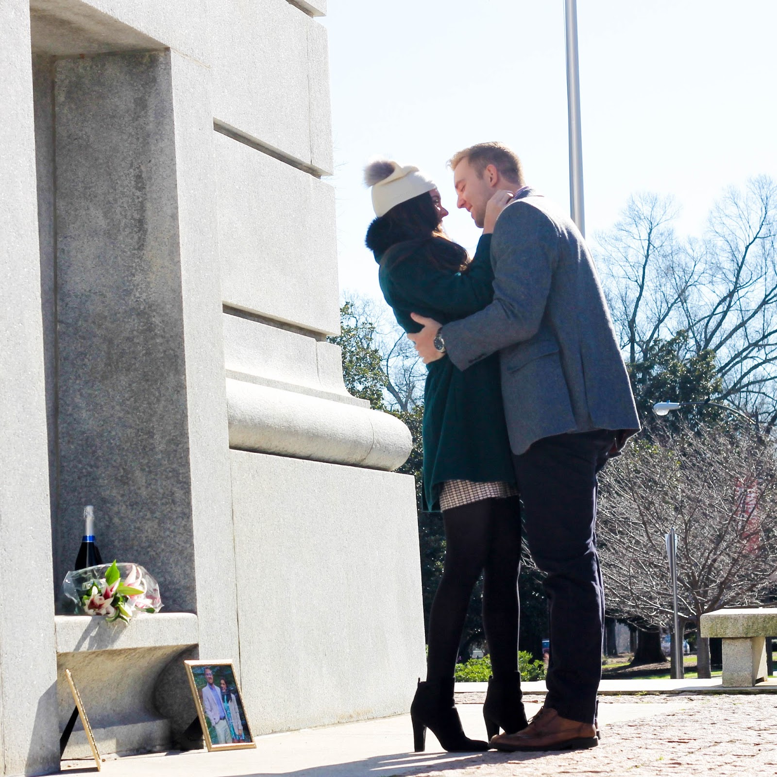 NC State Bell Tower Photos, NC State Bell Tower Photography Ideas, NC State Proposal, NC State engagement, nc state couple, pretty in the pines, fashion blogger, blogger bride to be