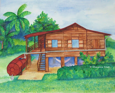 Photograph of my watercolour painting of the old house my father lived in