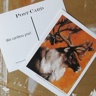 "Woodland caribou postcard ""We caribou you!"" © Shannon Reynolds 2014"