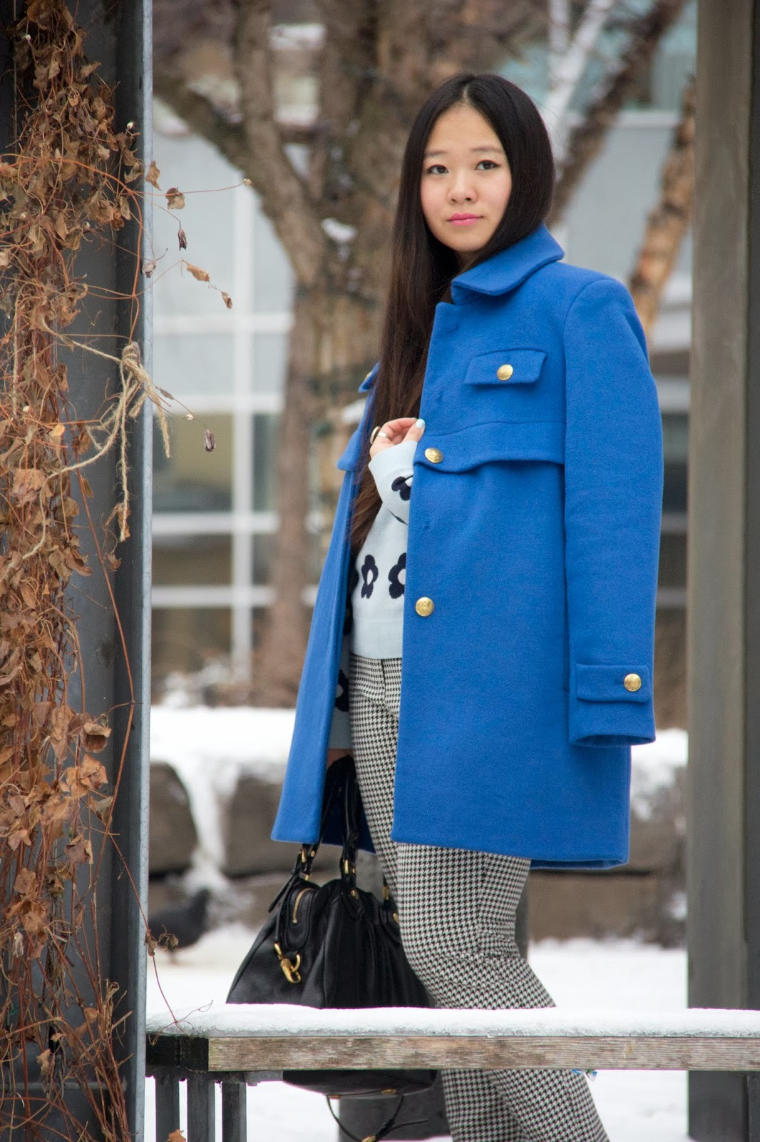 JoeFresh-Blue-Wool-Coat, Winter-Outfits, Business-Casual