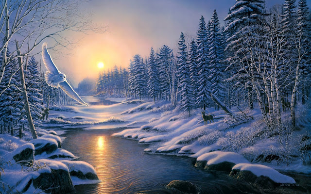 Atardecer de Invierno o  Solstice of sunset  winter Pinturas de James Meyer