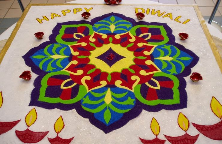 Rangoli Designs and Patterns with Lamps for Diwali 3
