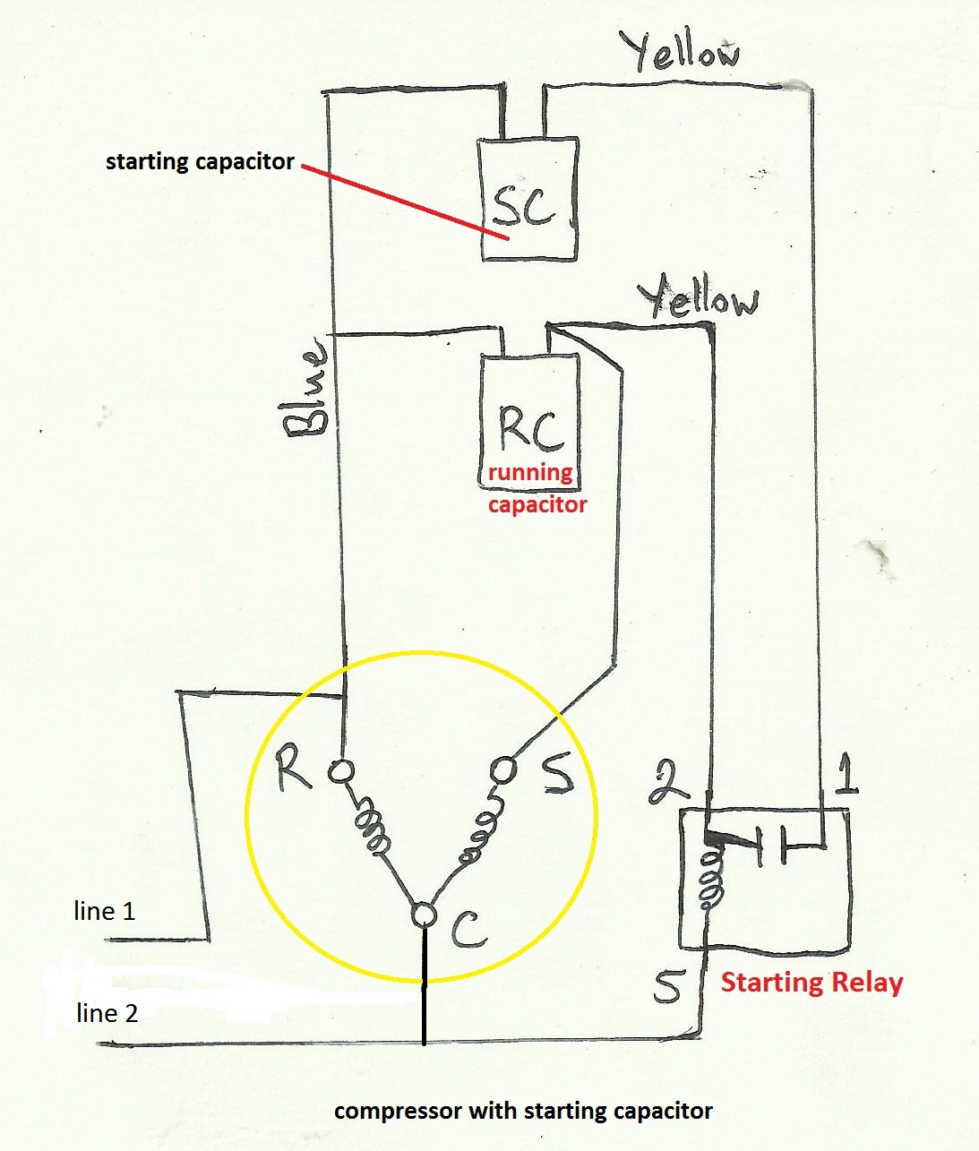 refrigeration and air conditioning repair wiring diagram of compressor with starting capacitor