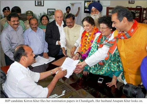 BJP candidate Kirron Kher files her nomination papers in Chandigarh, alongwith Ex-MP Satya Pal Jain & other BJP leaders