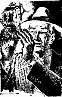 Illustration by Bill Terry accompanying the original publication in Other Worlds Science Stories magazine of the short story The Switcheroo by Fredric Brown and Mack Reynolds. Picture shows a man with a gadget that lets you switch consciousness with another person's body.