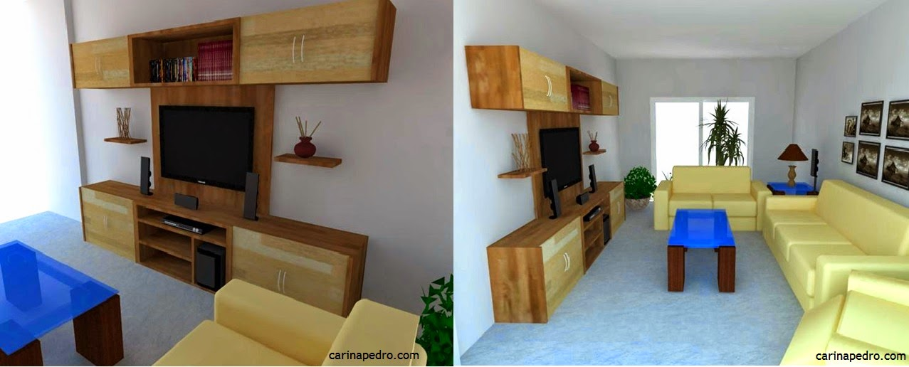 imagem 3D de rack para TV e home theater / blog Carina Pedro