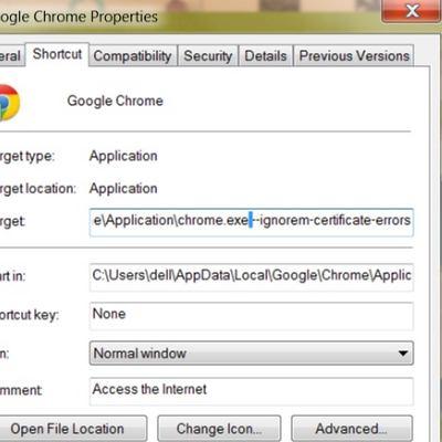 C:\…\chrome.exe --ignore-certificate-errors