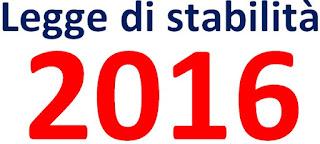 Legge 208 del 28 dicembre 2015 - Legge di stabilità 2016