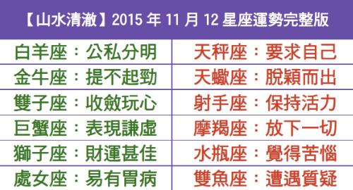 【山水清澈】2015年11月12星座運勢完整版