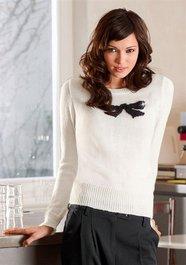 Pullover weiss schwarze schleife Quelle.ch