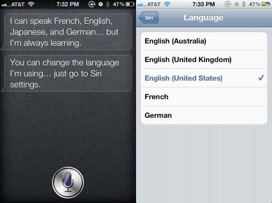 Siri admitted that she knows to speak Japanese