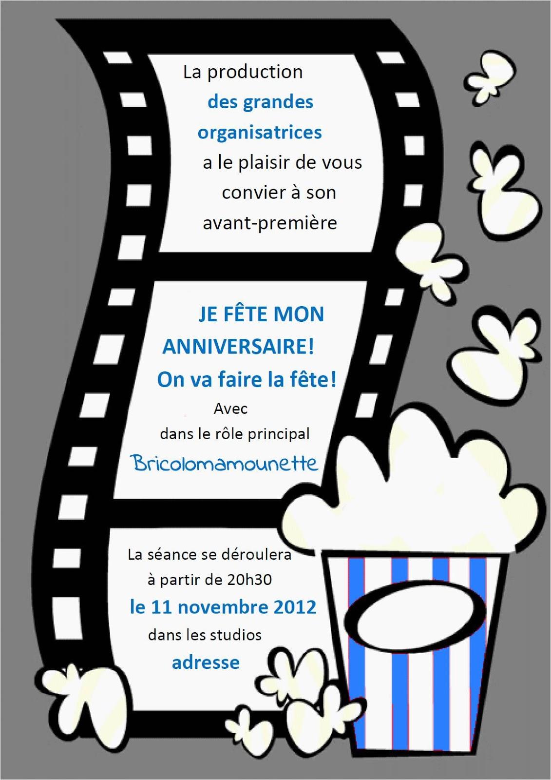 Bekannt Bricolomamounette Party: Modèle d'invitation sur le thème du Cinéma NV75