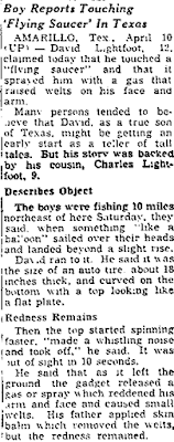 Boy Touches 'Flying Saucer' in Texas - The Toledo Blade 4-10-1950