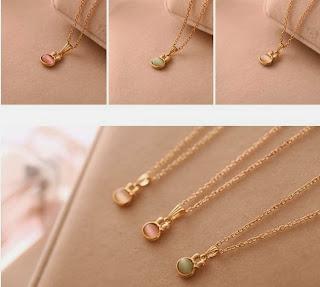 Hot Korean Fashion Cute Rabbit Style Cat Eye Stone Pendant Sweet Necklace