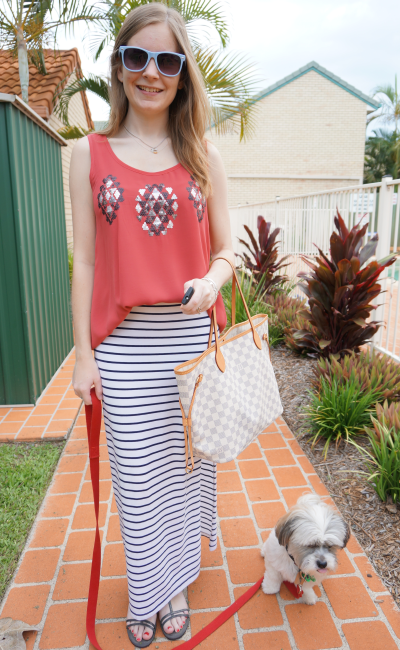 Mica Aussie Blogger Summer casual maxi skirt sequin tank outfit